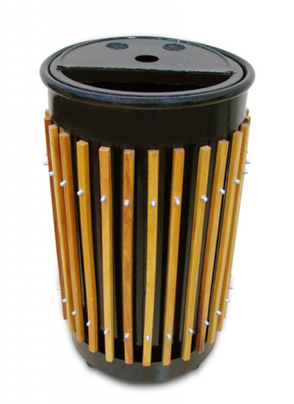 NEO-119A Wooden Laminate Cage-Shaped Trash Can