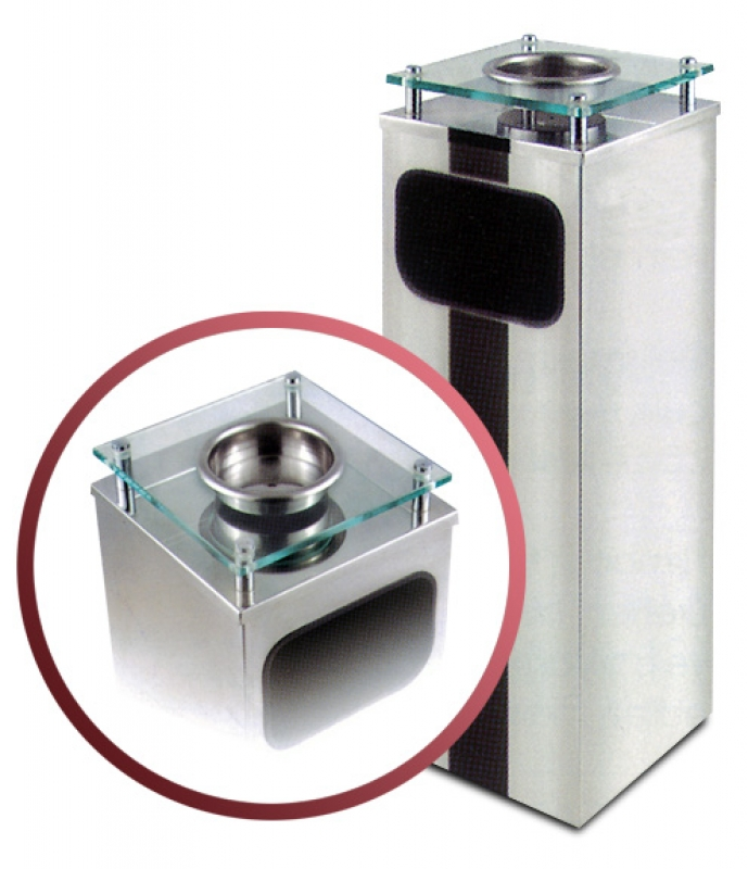 NEO-107KC Square-shaped Lounge Ashtray Receptacle with Glass Top