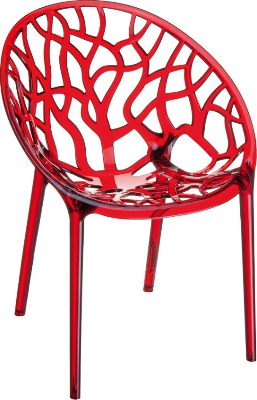 Crystal Cafe Chair Transparent Red