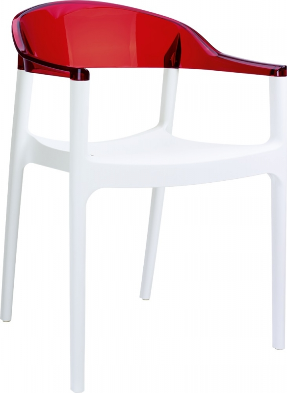 Carmen Cafe Chair White/Transparent Red