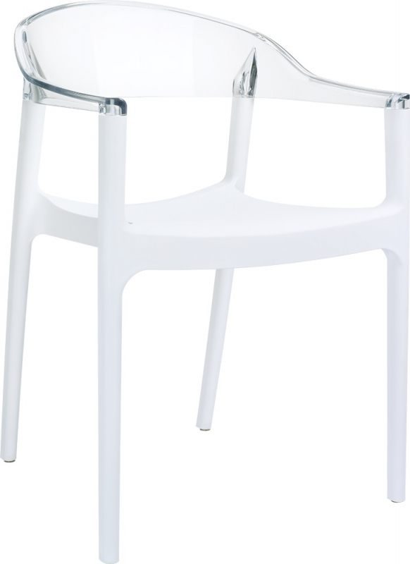 Carmen Cafe Chair White/Transparent