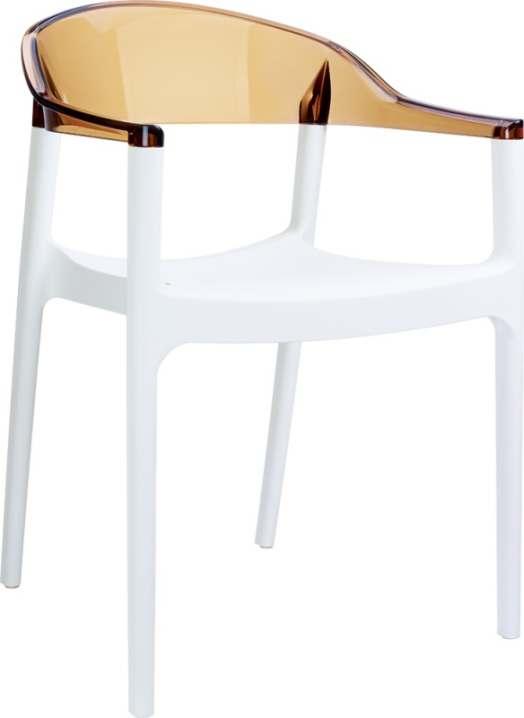 Carmen Cafe Chair White/Transparent Brown